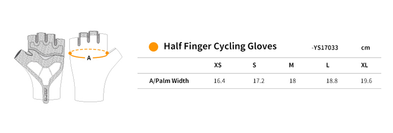 YS17033 half finger cycling gloves size chart