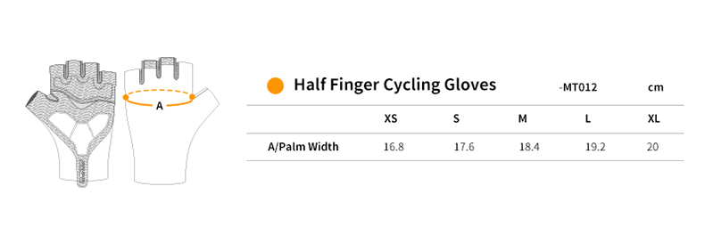 short finger cycling gloves size chart