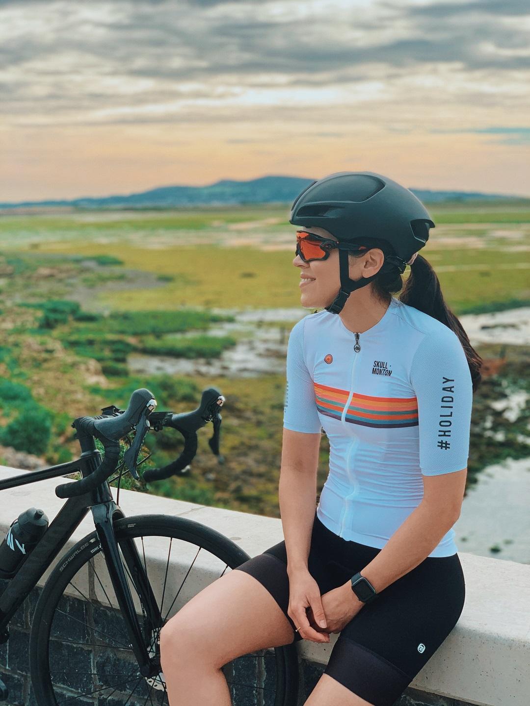 womens white cycling jersey