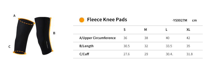 knee warmers cycling size chart