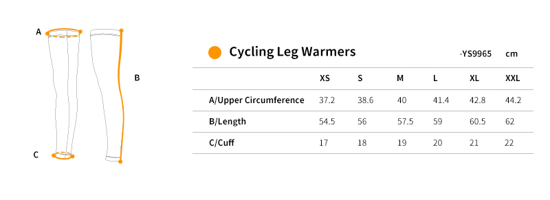 cycling leg sleeves YS9965 size chart
