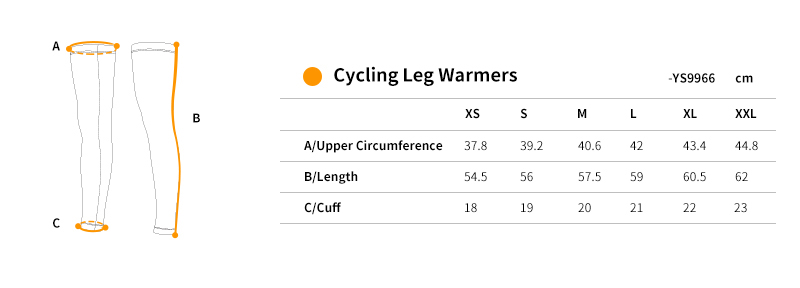 cycling leg sleeves YS9966 size chart