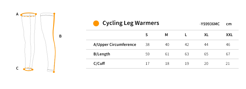 leg warmers cycling size chart