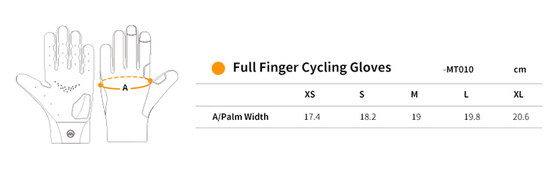 full finger cycling gloves size chart