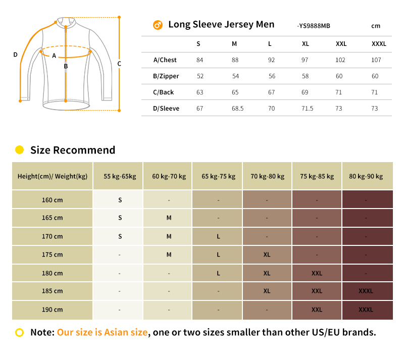 thermal long sleeve cycling jersey size chart