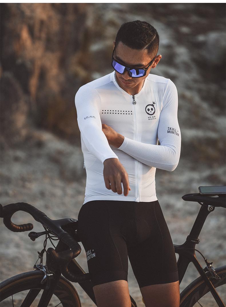 men's white long sleeve cycling jersey