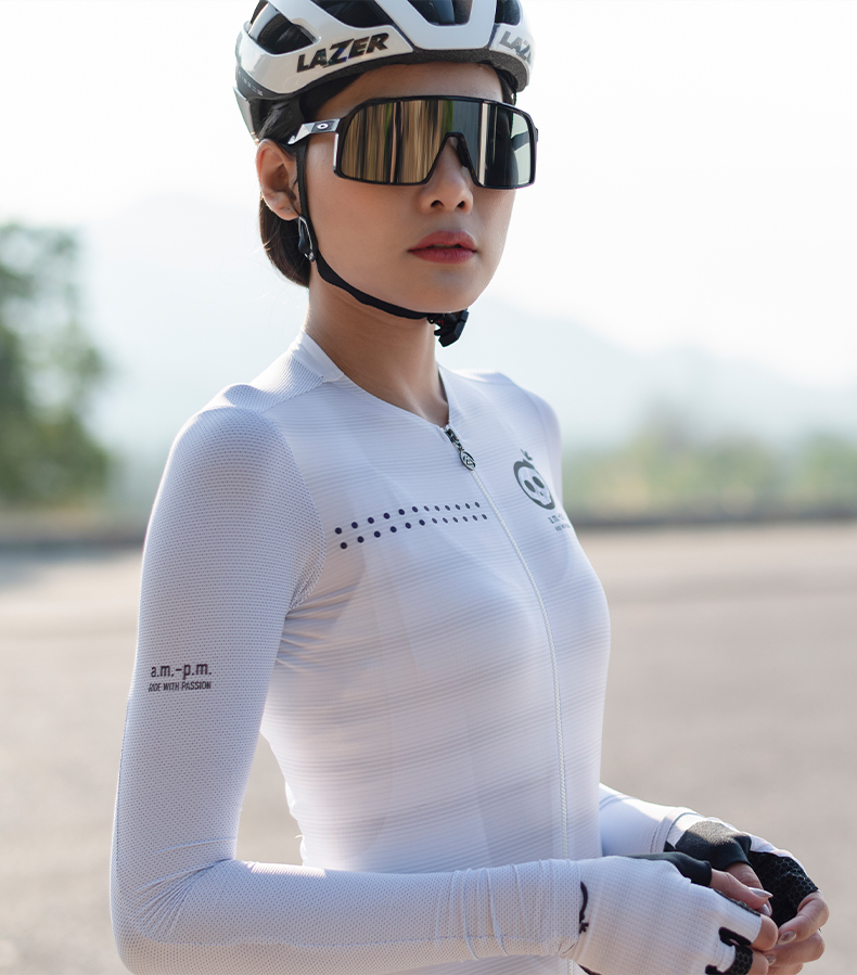 long sleeve white cycling jersey