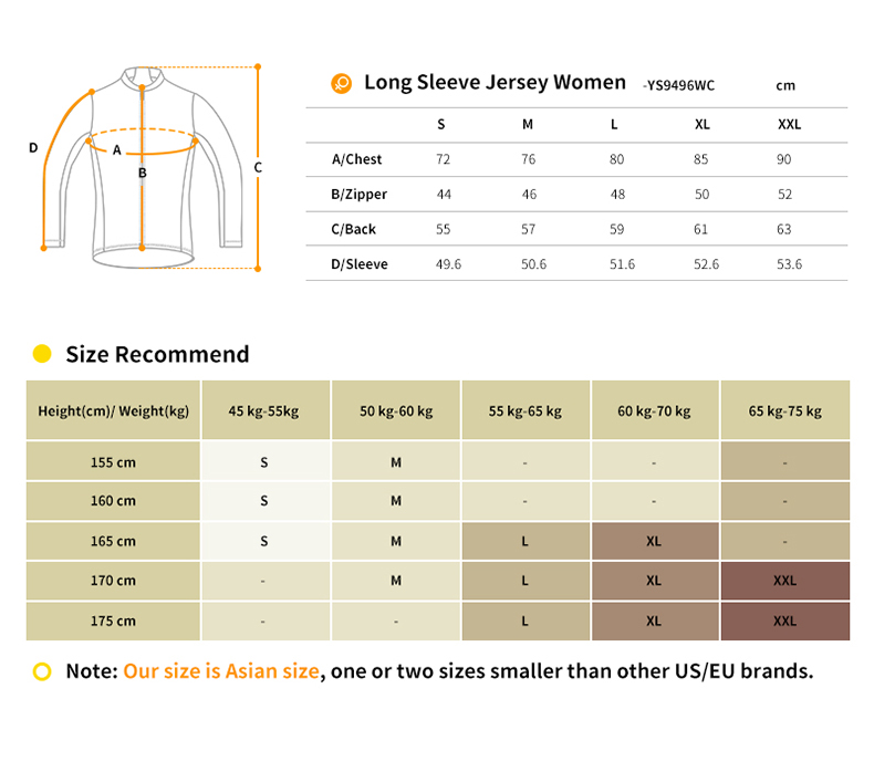 YS9496WC cycling jersey size chart