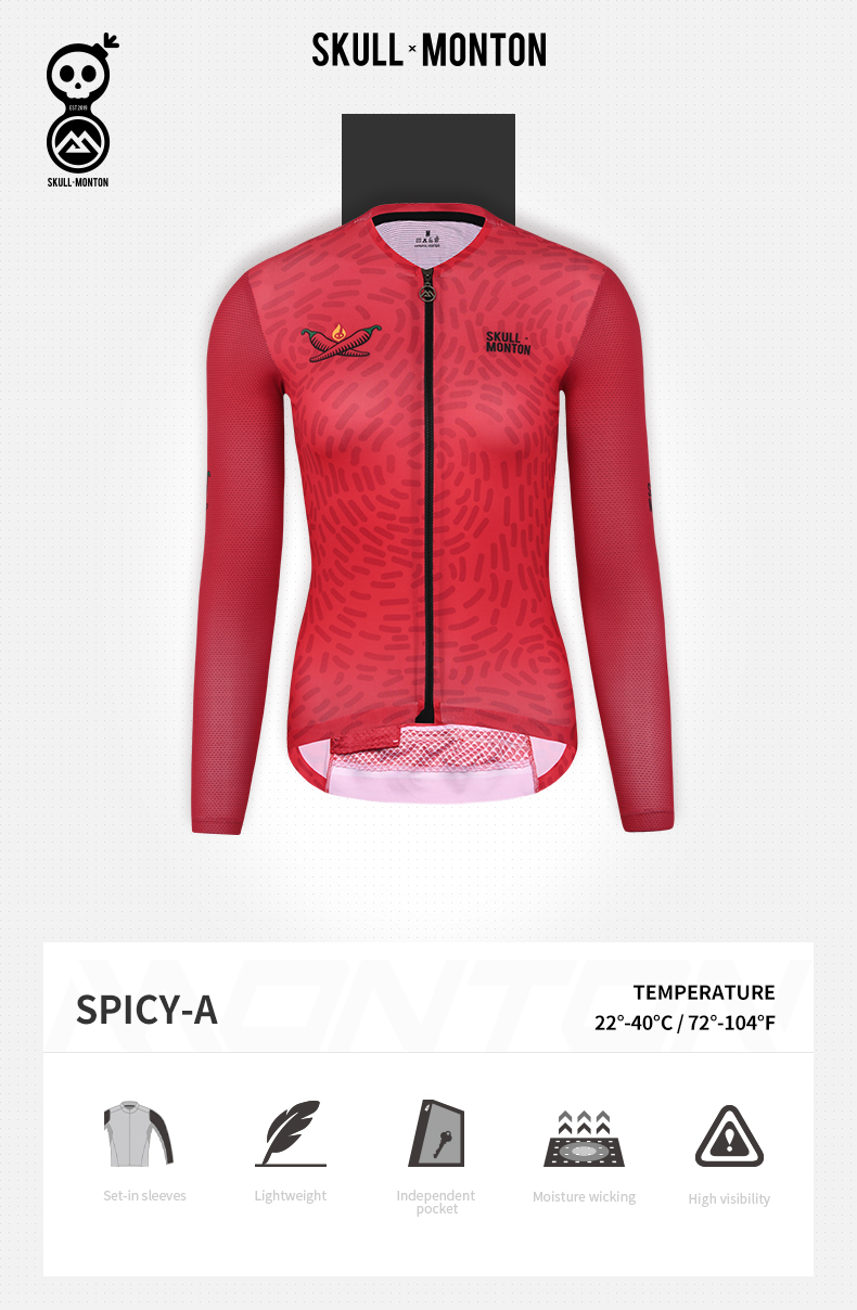 red long sleeve cycling jersey