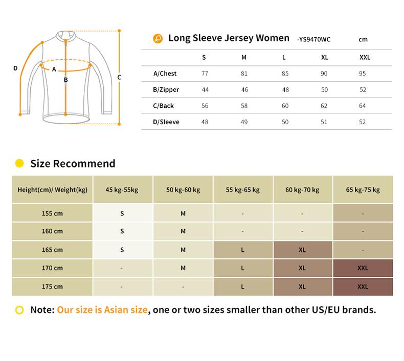 womens long sleeve cycling jersey YS9470WC size chart