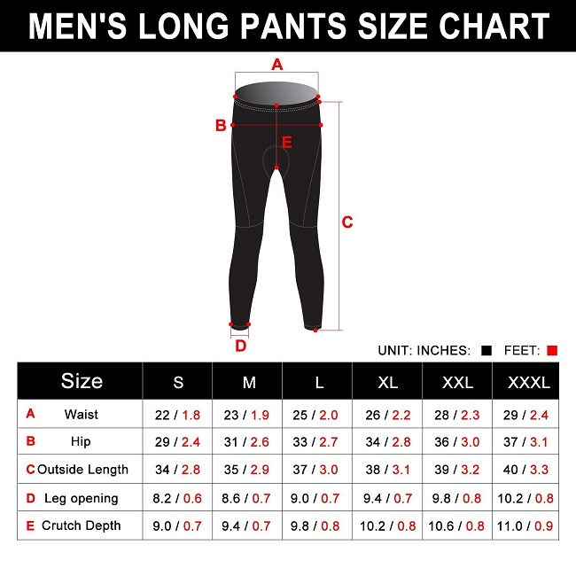 Monton Fleece Cycling Tights Size Chart