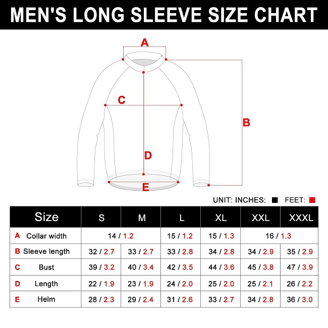 Long Sleeve cycling Jersey Size Chart