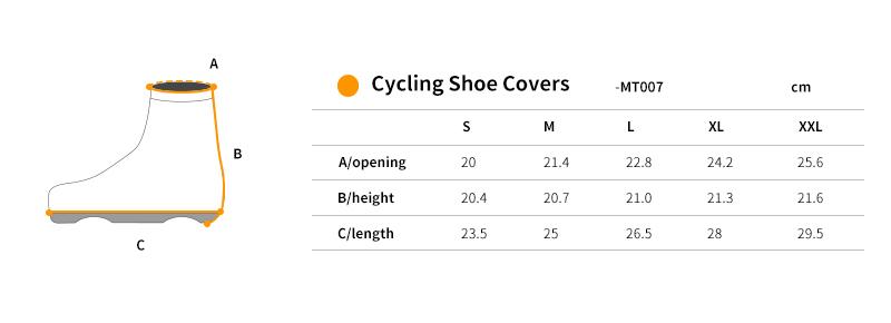waterproof cycling shoe covers size chart