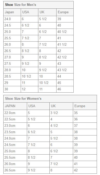 shoe size reference