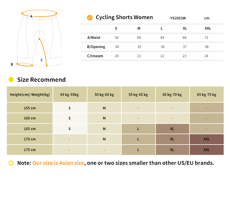 cycling bib shorts YS2002W size chart