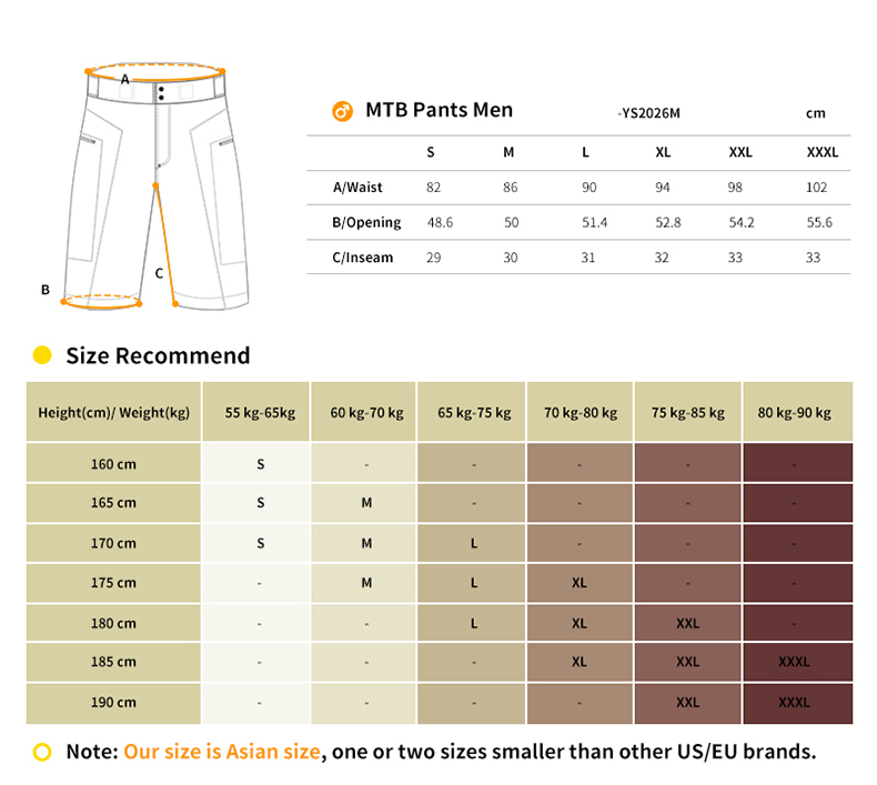 YS2026M mtb shorts size chart