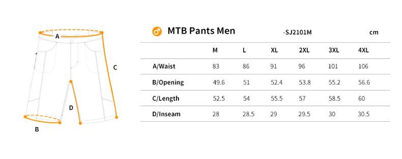 MTB shorts size chart