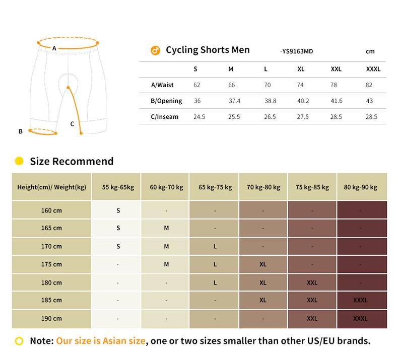 cycling shorts size chart