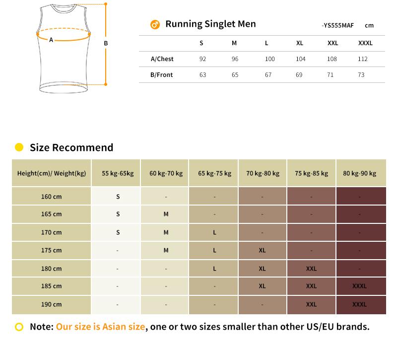 men's running singlet size chart