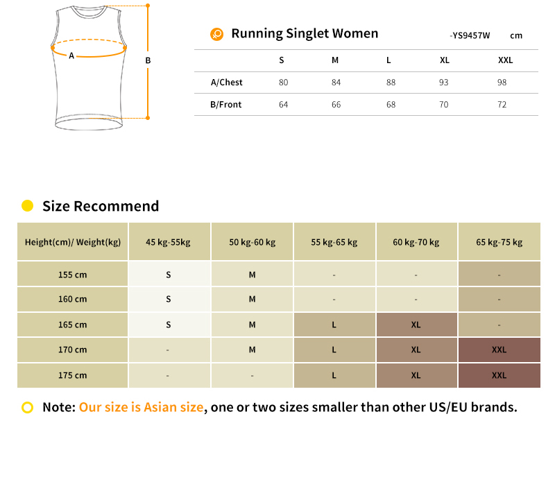 women's running singlet size chart