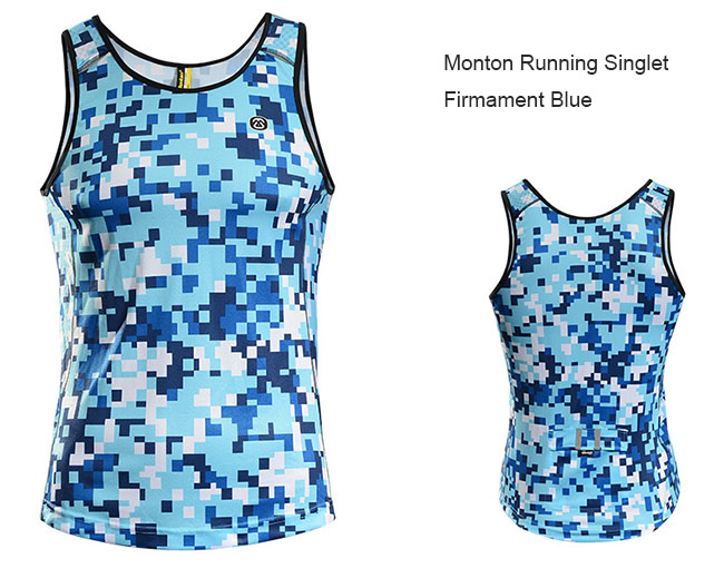 2015 Monton Mens Best Running Singlet Firmament Blue Front and Back