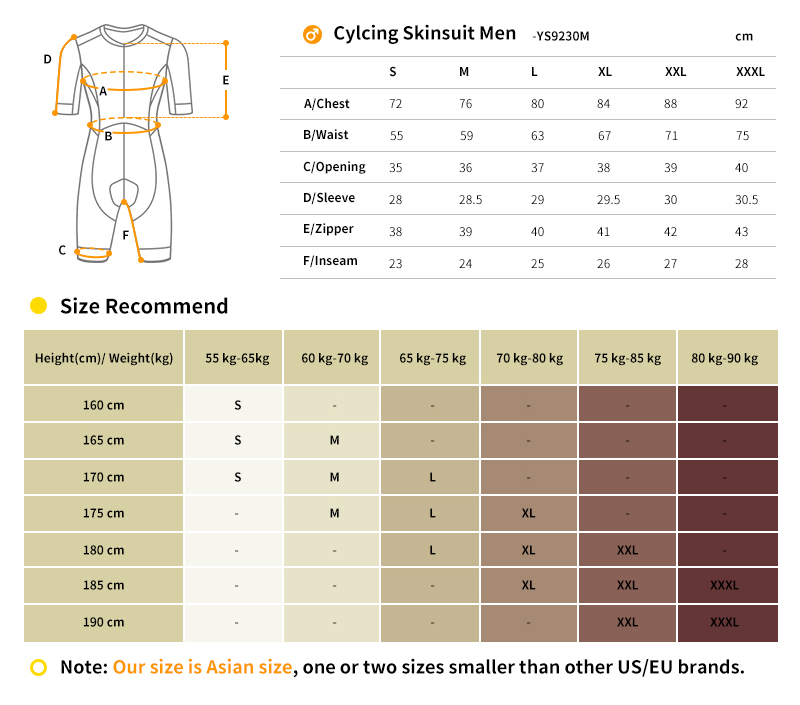 cycling speedsuit size chart
