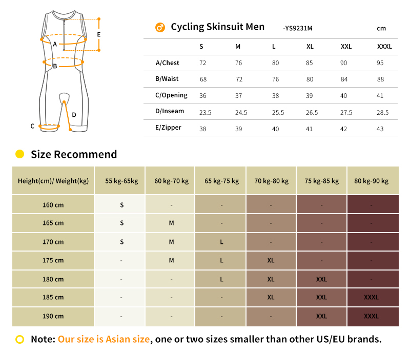 Tri Suit size chart