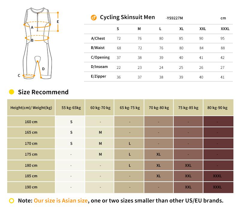 triathlon skinsuit  size chart