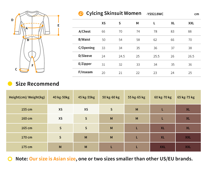 womens cycling skinsuit YS9218WC size chart