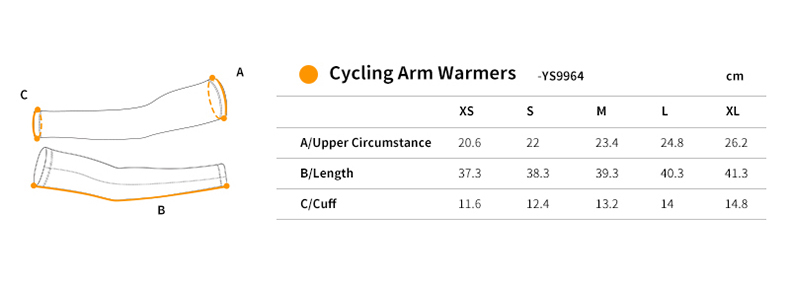 cycling arm sleeves YS9964 size chart