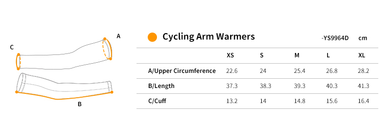 cycling arm sleeves YS9964D size chart