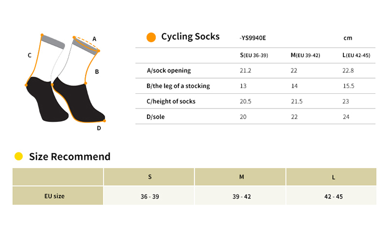 cycling socks YS9940E size chart