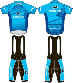 Sportland custom cycling jersey bib shorts set design