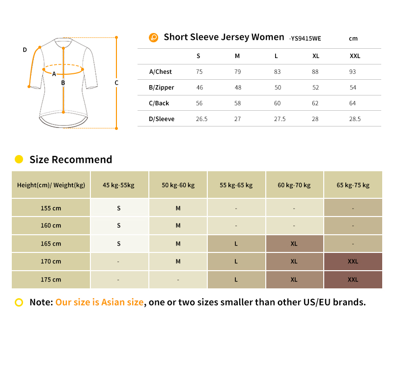 cycling jersey YS9415WE size chart