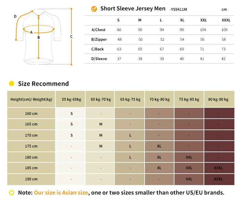 cycling jersey sizing