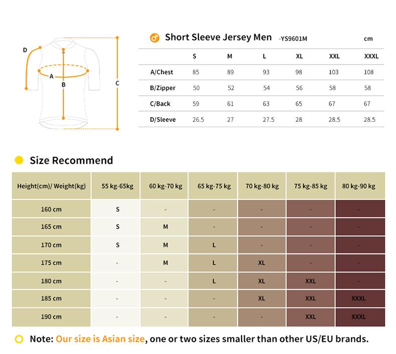 YS9601M cycling jersey size chart