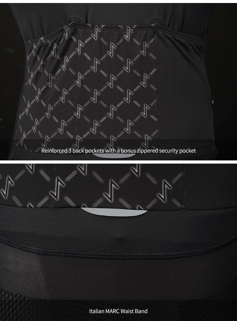 back pockets and reflective piping