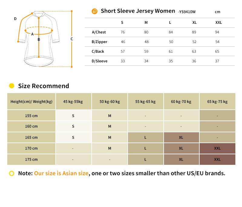 cycling jersey YS9410W size chart