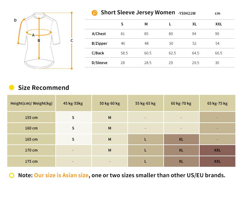 cycling jersey YS9421W size chart