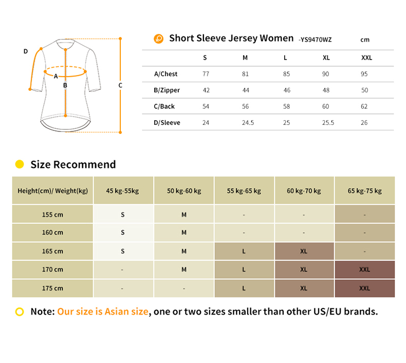short sleeve jersey size chart