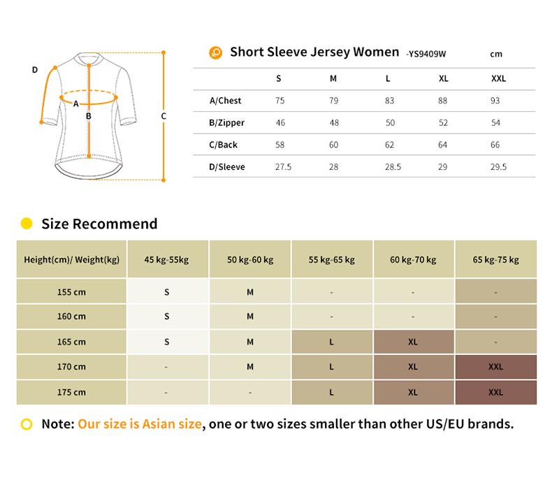 YS9409W cycling jersey size chart