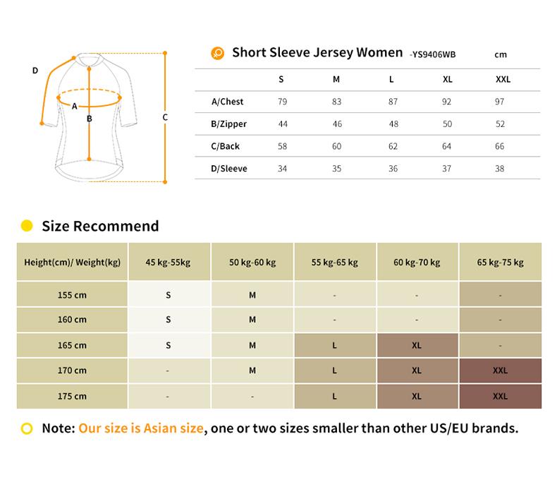 YS9406WB cycling jersey size chart
