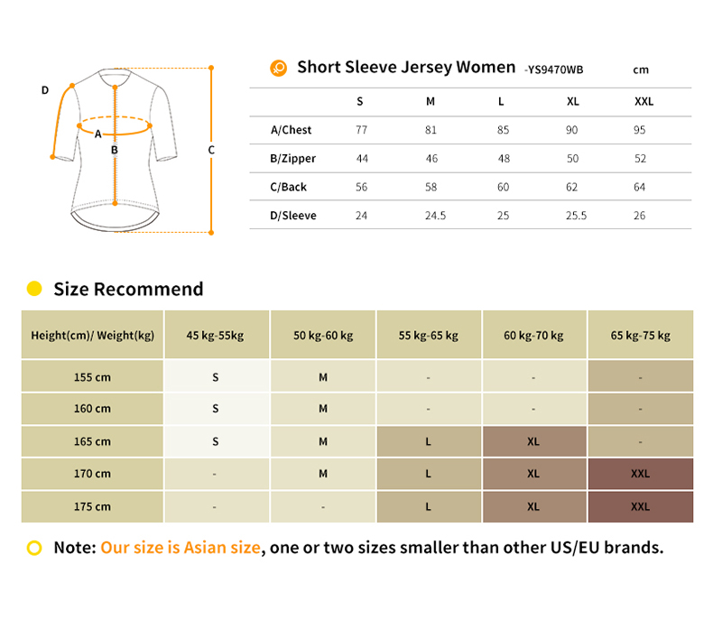 YS9470WB jersey size chart
