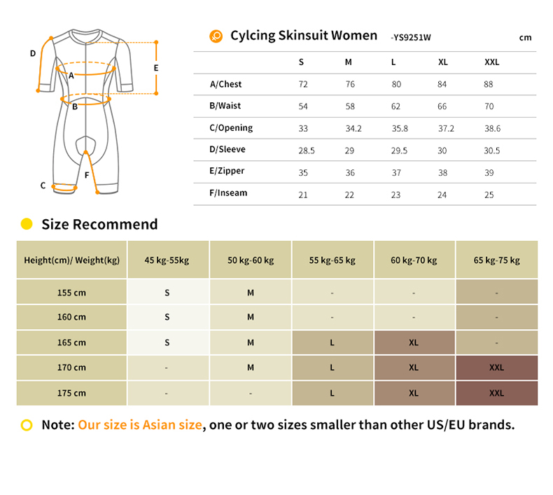 cycling skinsuit size chart