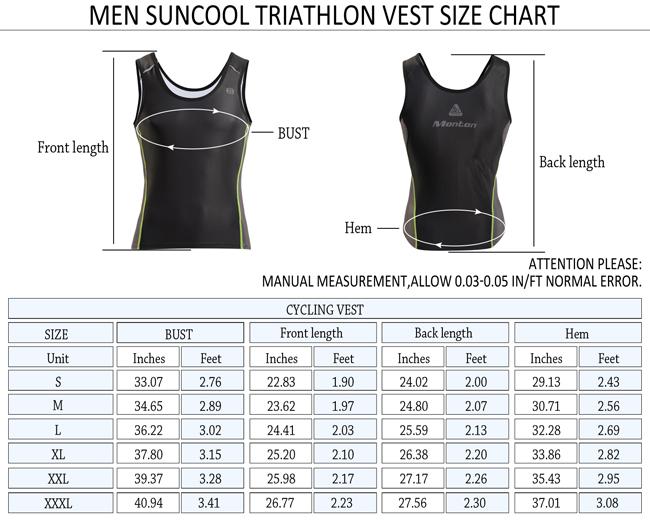 Suncool Triathlon Singlet Size Chart