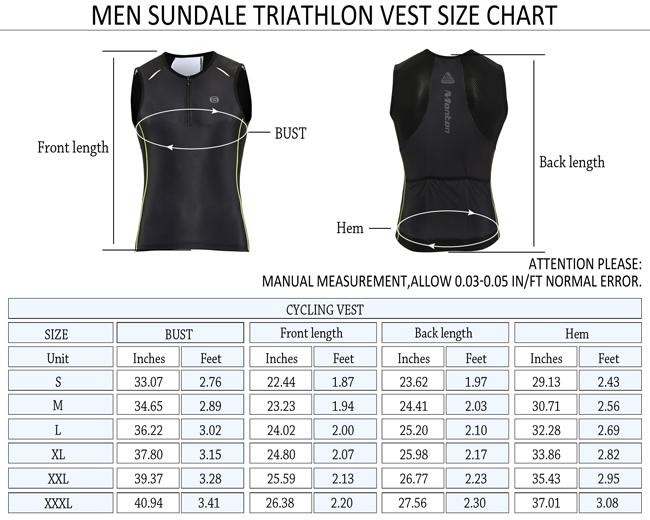 Sundale Triathlon Singlet Size Chart