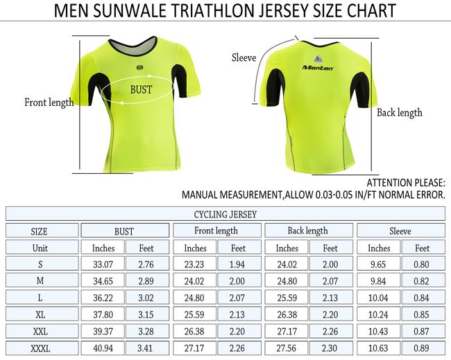 Triathlon Shirt Sunwale Size Chart