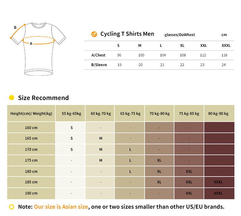 cycling t shirt size chart