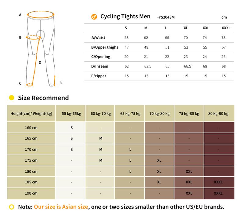 mens cycling tights size chart