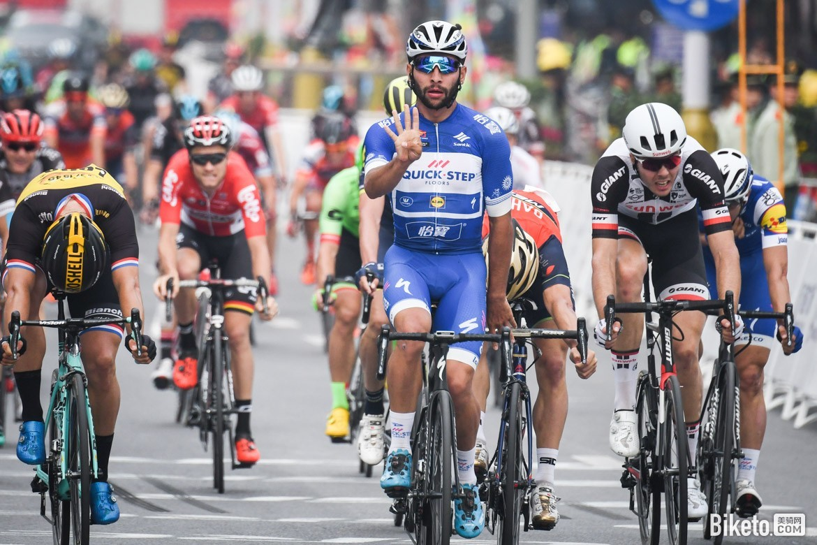 Quick-Step Floors Fernando Gaviria won four of the stages at tour of guangxi 2017